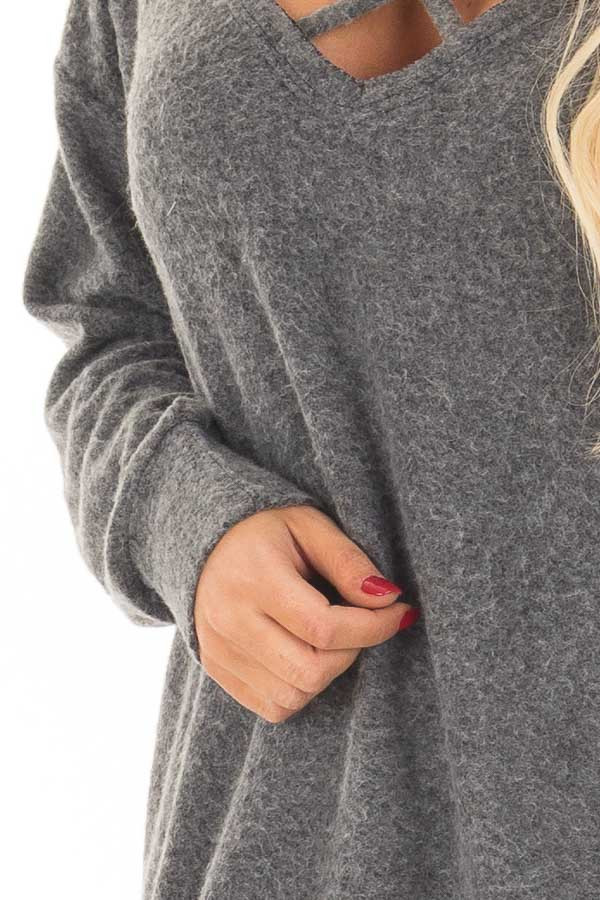 Charcoal Soft Sweater with Strap Detailed Neckline detail