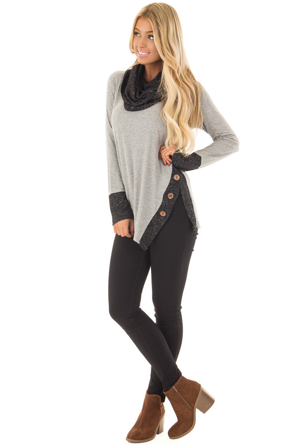 Grey Top with Soft Black Cowl Neck and Button Details front full body