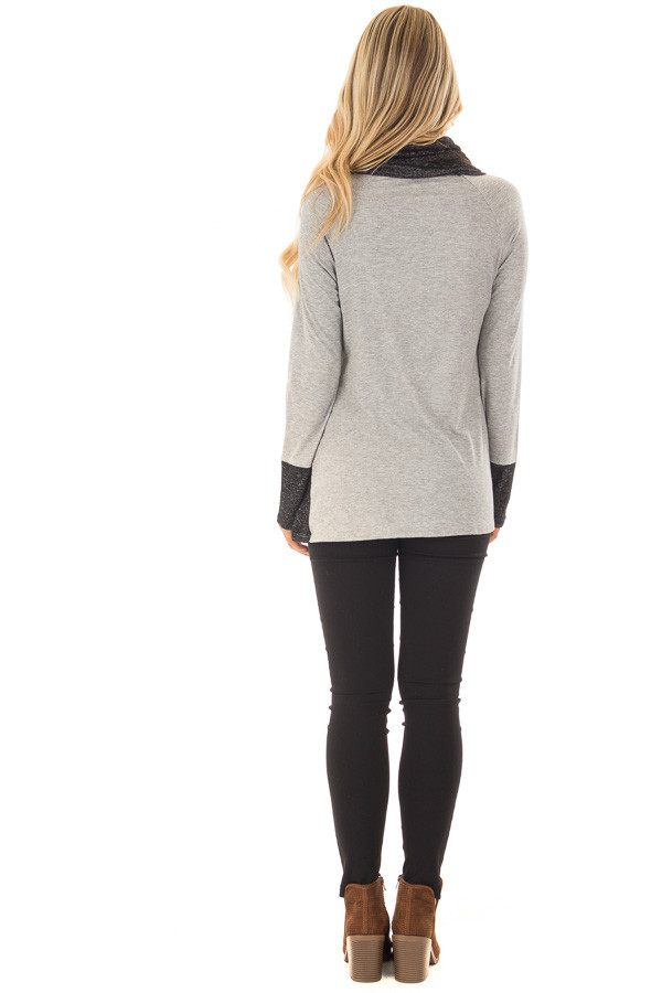Grey Top with Soft Black Cowl Neck and Button Details back full body