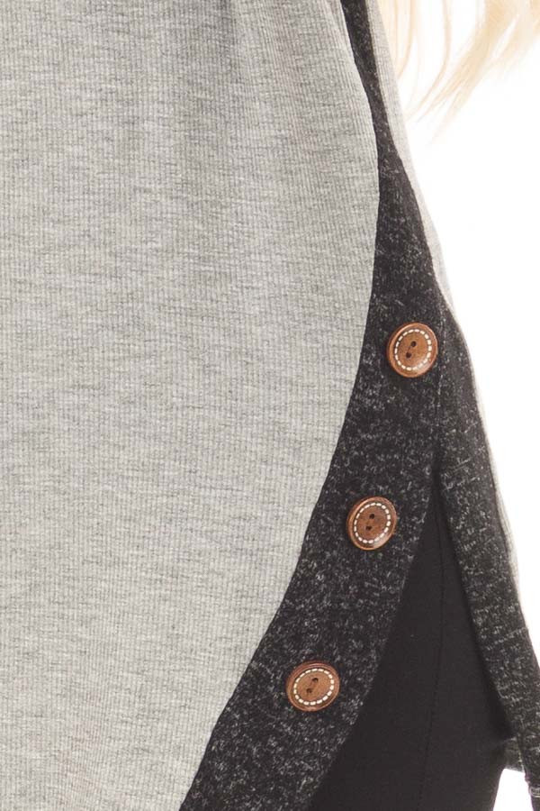 Grey Top with Soft Black Cowl Neck and Button Details detail