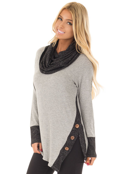 Grey Top with Soft Black Cowl Neck and Button Details front close up