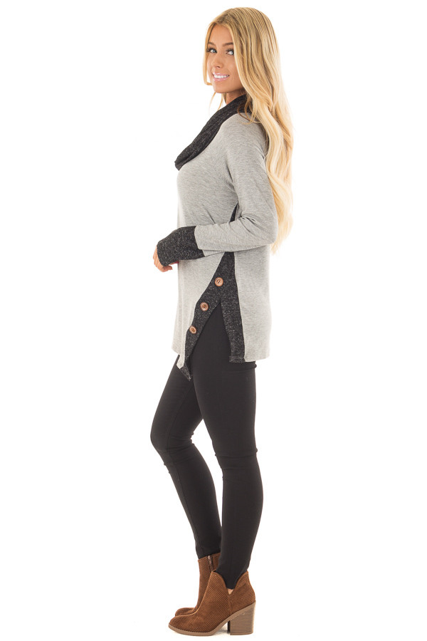 Grey Top with Soft Black Cowl Neck and Button Details side full body