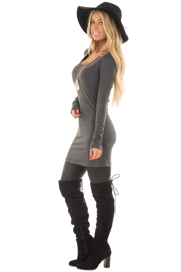 Charcoal Scoop Neck Fitted Tunic side full body