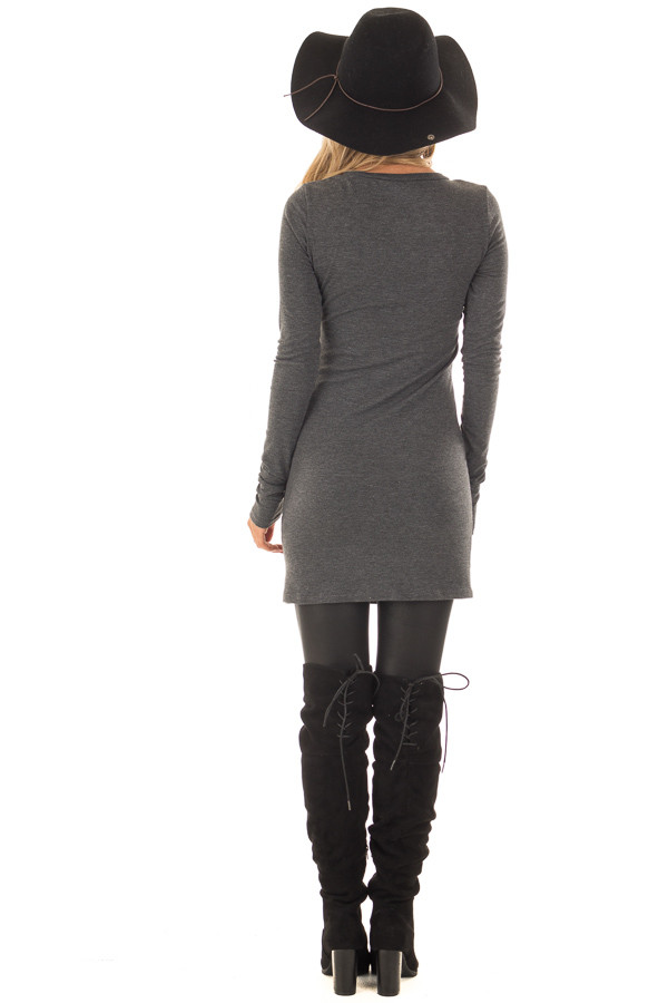 Charcoal Scoop Neck Fitted Tunic back full body