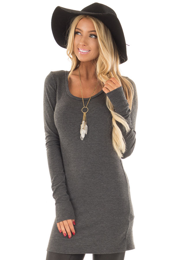 Charcoal Scoop Neck Fitted Tunic front close up
