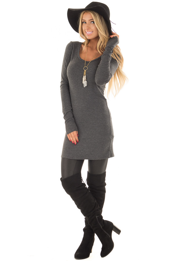 Charcoal Scoop Neck Fitted Tunic front full body