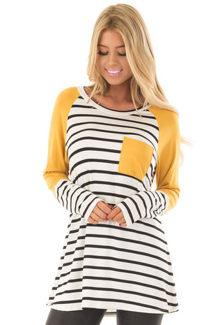 Ivory and Black Striped Raglan Top with Mustard Contrast front close up