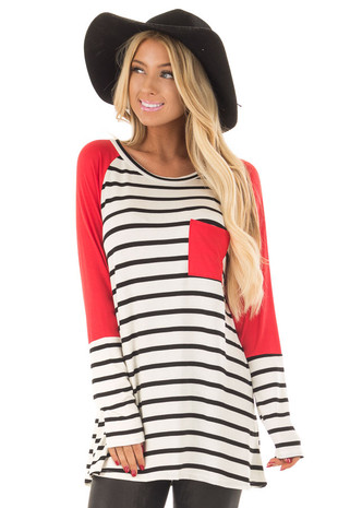 Ivory and Black Striped Raglan Top with Red Contrast front close up
