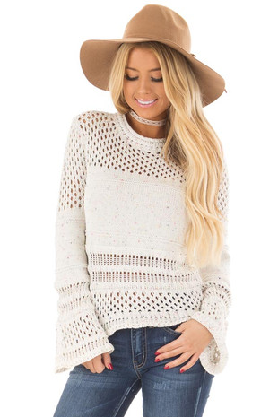 Ivory Sheer Crochet Sweater with Multicolor Confetti front close up