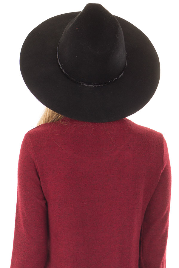 Black Wool Felt Hat with Gold Beaded Detail back view