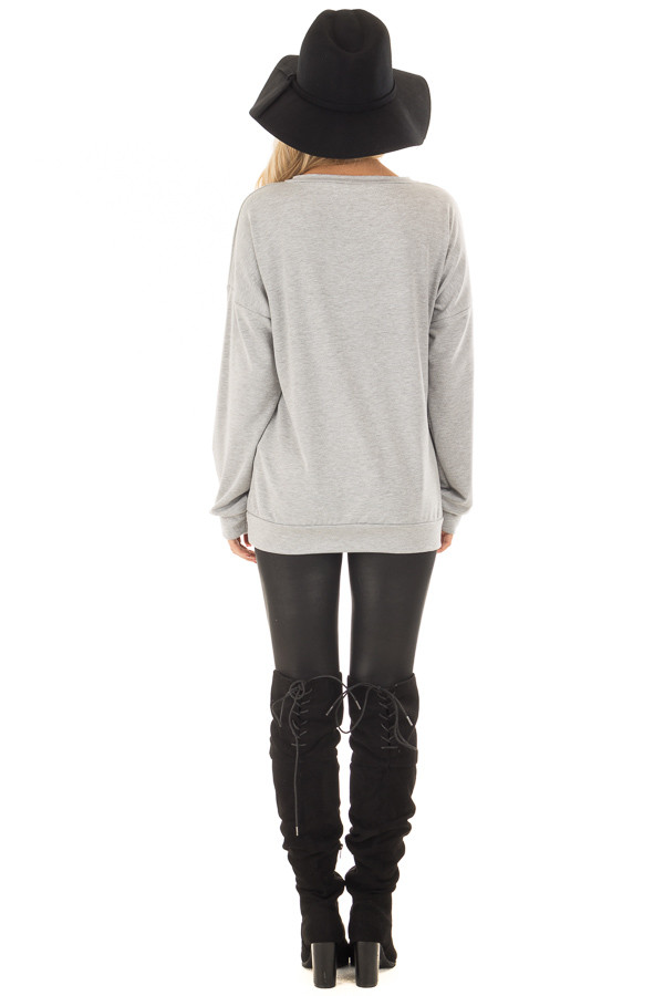 Heather Grey Criss Cross V Neck Sweater back full body