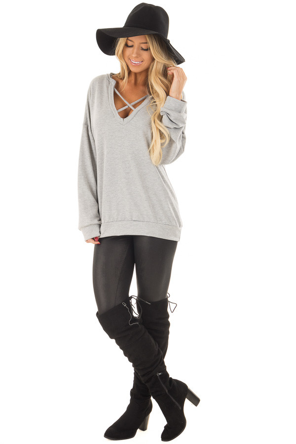 Heather Grey Criss Cross V Neck Sweater front full body