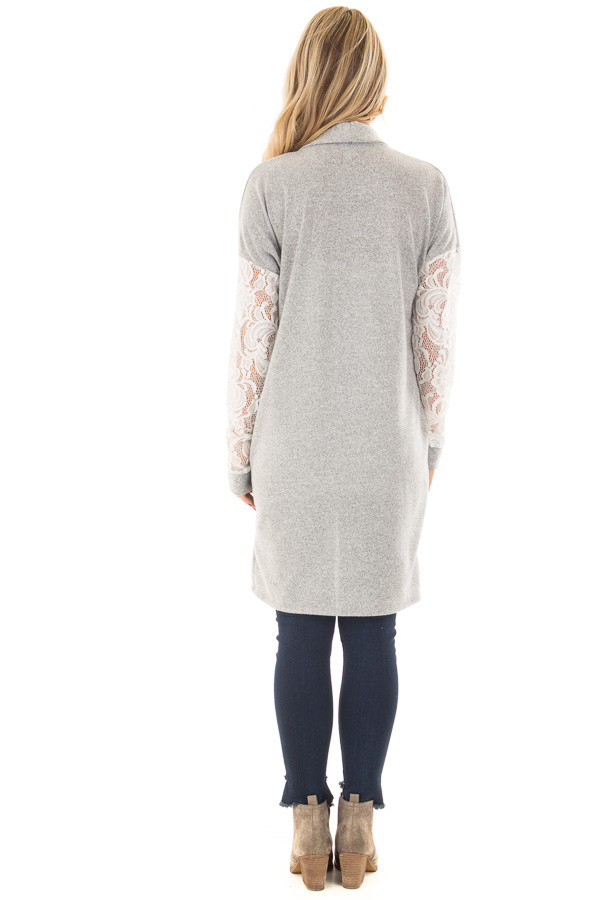 Heather Grey Soft Cardigan with White Sheer Lace Sleeves back full body