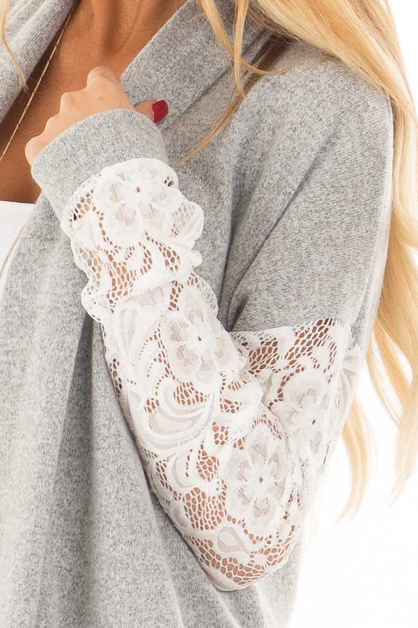 Heather Grey Soft Cardigan with White Sheer Lace Sleeves detail