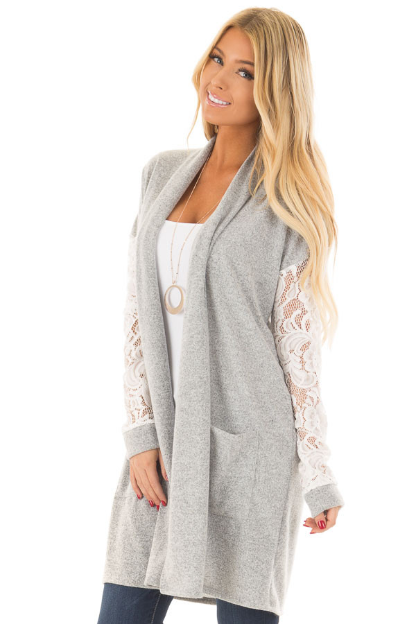 Heather Grey Soft Cardigan with White Sheer Lace Sleeves front full body