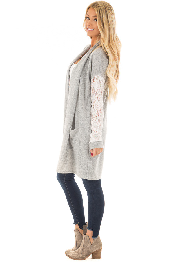Heather Grey Soft Cardigan with White Sheer Lace Sleeves side full body