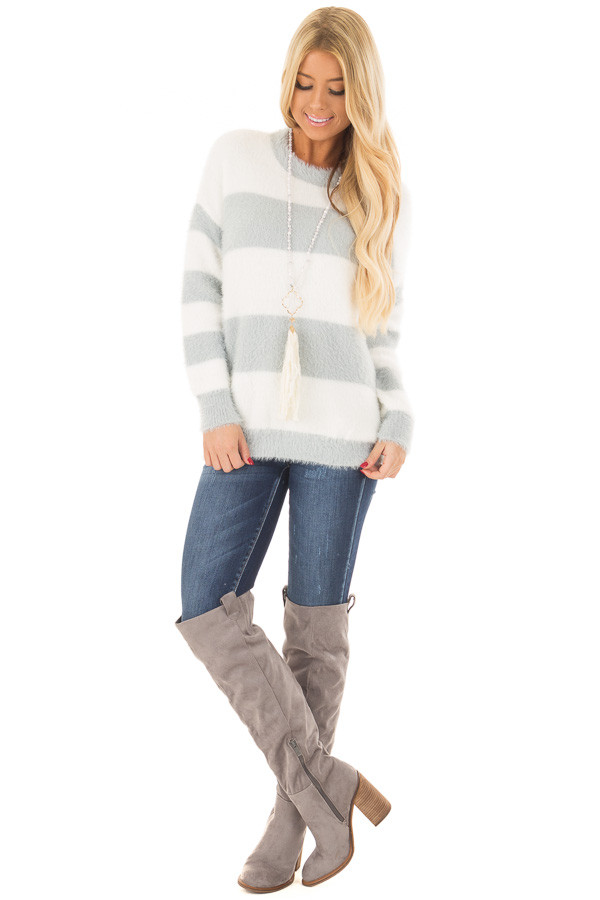 Heather Grey and Ivory Striped Faux Fur Sweater front full body