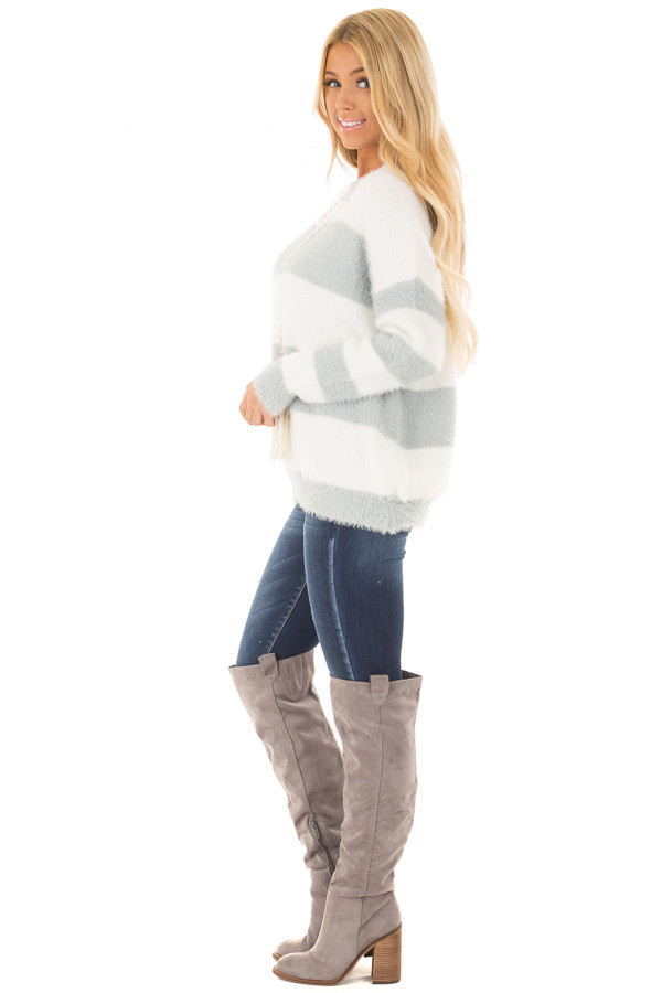 Heather Grey and Ivory Striped Faux Fur Sweater side full body
