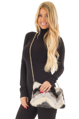 Multicolor Faux Fur Purse with Removable Gold Chain front close up