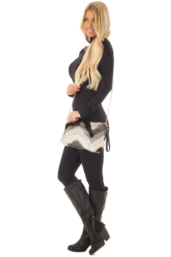 Multicolor Faux Fur Purse with Removable Gold Chain side full body