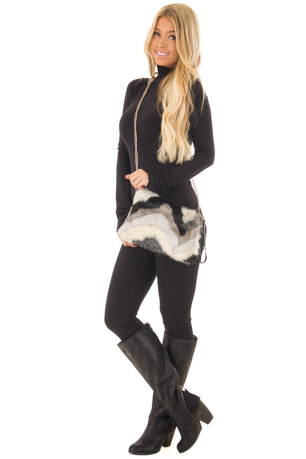 Multicolor Faux Fur Purse with Removable Gold Chain front full body
