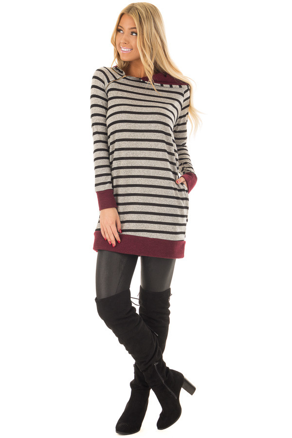 Burgundy Striped Hoodie with Zipper Detail front full body