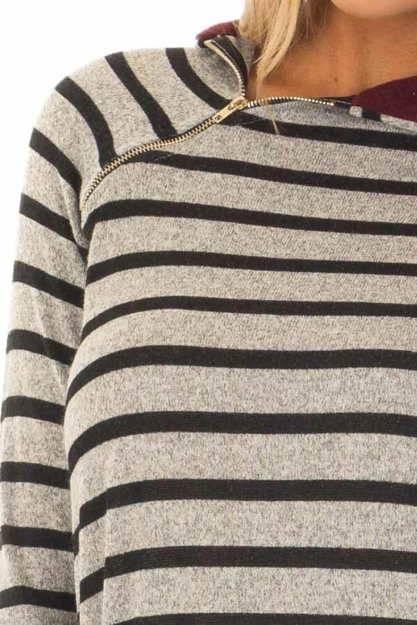 Burgundy Striped Hoodie with Zipper Detail detail