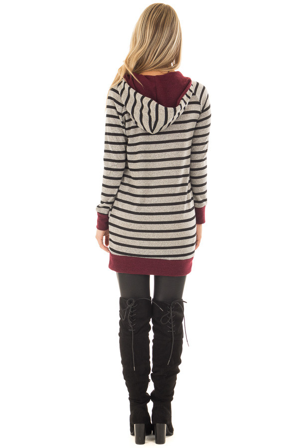 Burgundy Striped Hoodie with Zipper Detail back full body