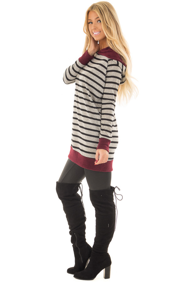 Burgundy Striped Hoodie with Zipper Detail side full body