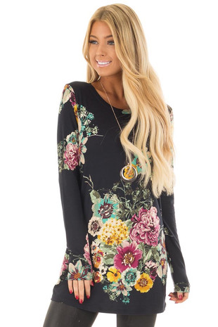 Black Floral Print Long Sleeve Top front close up