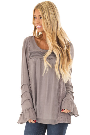 Mocha Bell Sleeve Top with Sheer Lace Detail front close up