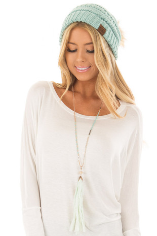 Natural and Mint Beaded Long Necklace with TasselNatural and Mint Beaded Long Necklace with Tassel