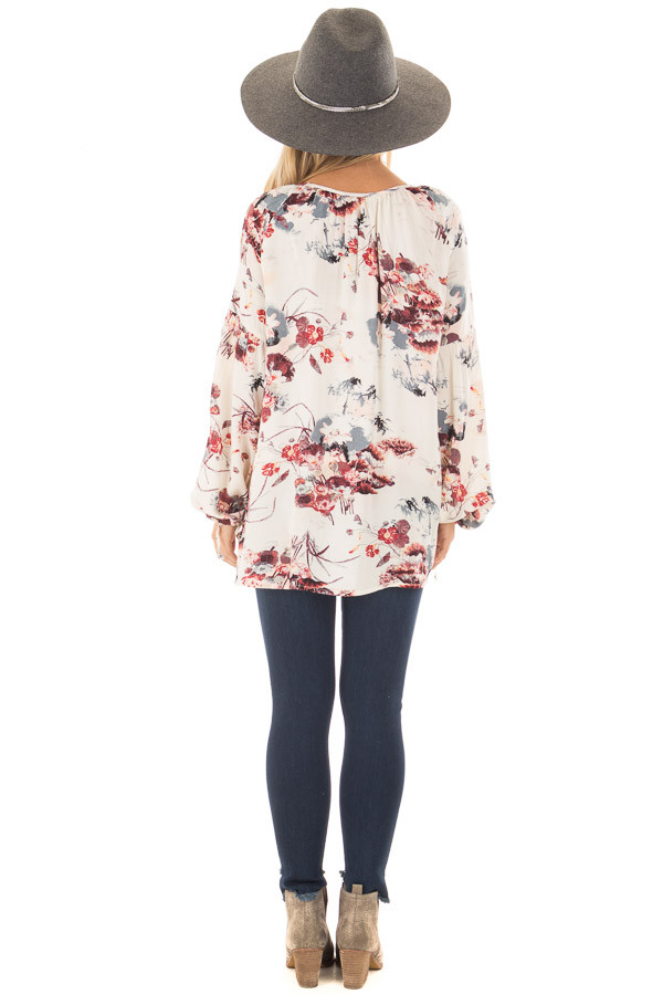 Cream Floral Print Bell Sleeve Top back full body