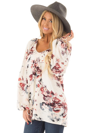 Cream Floral Print Bell Sleeve Top front close up