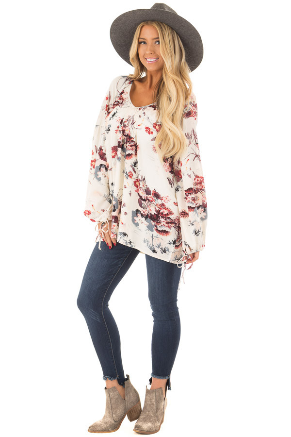 Cream Floral Print Bell Sleeve Top front full body