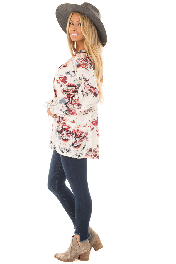 Cream Floral Print Bell Sleeve Top side full body