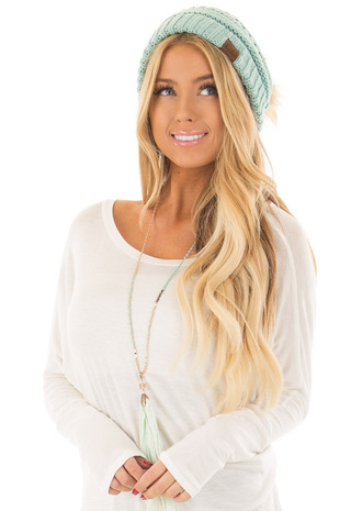 Mint Cable Knit Beanie with Faux Fur Pom Pom front view