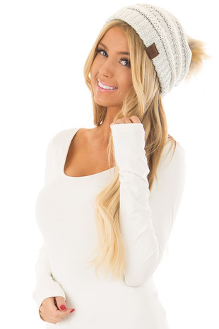 Ivory and Silver Cable Knit Beanie with Faux Fur Pom Pom front view
