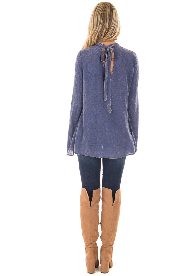 Iris Blue Vintage Wash Textured Top with Chest Cutout back full body