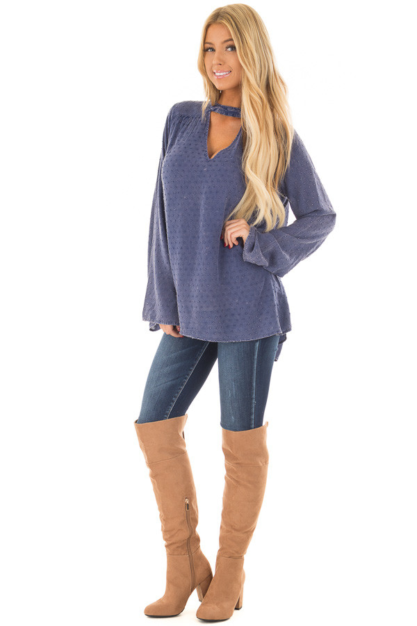Iris Blue Vintage Wash Textured Top with Chest Cutout front full body