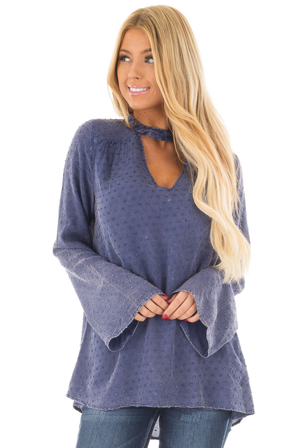 Iris Blue Vintage Wash Textured Top with Chest Cutout front close up