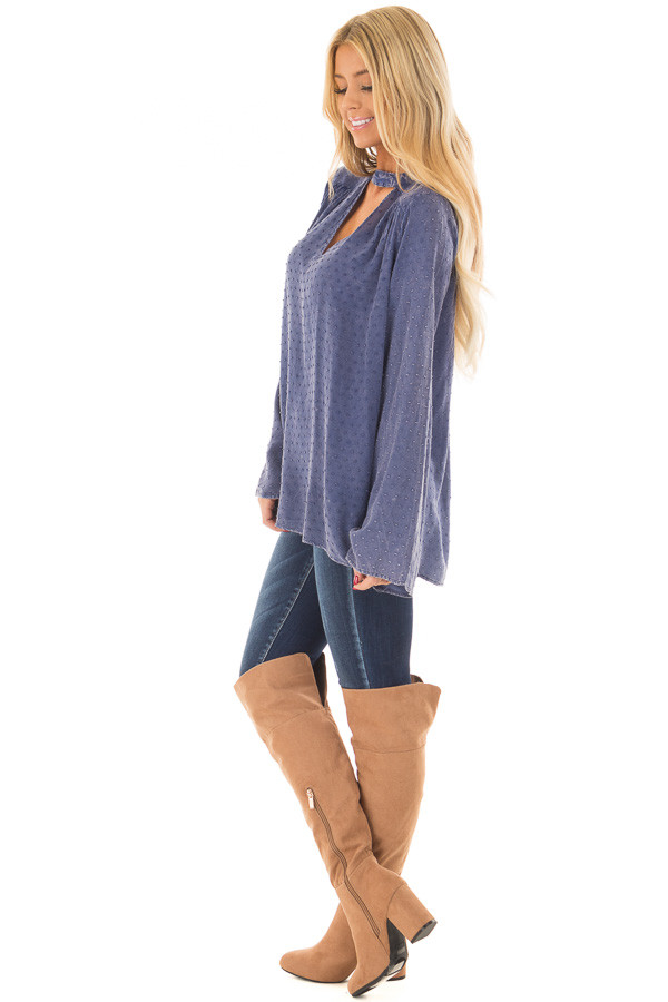 Iris Blue Vintage Wash Textured Top with Chest Cutout side full body