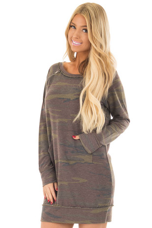 Olive and Brown Camo Print Tunic with Zipper Detail front close up