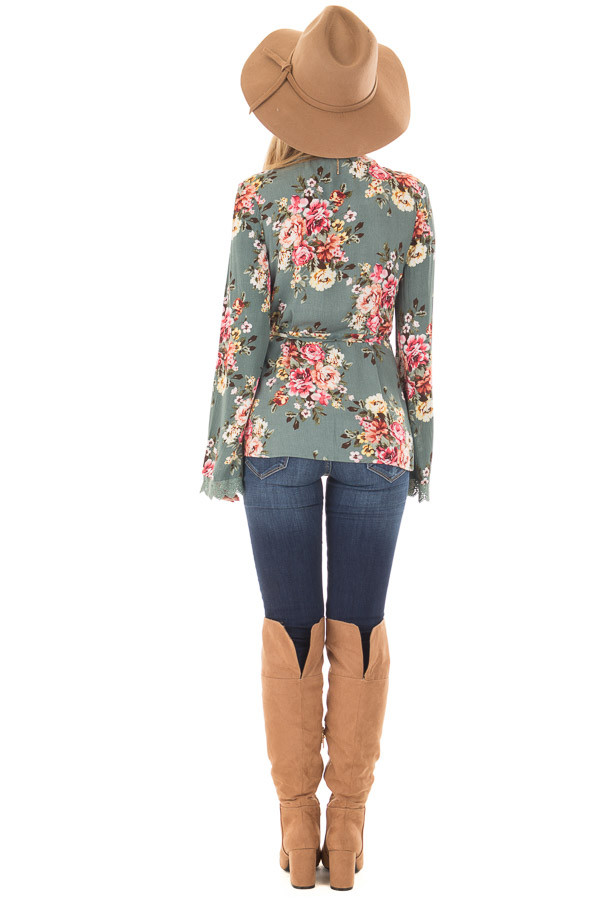Dusty Blue Floral Print Wrap Style Top back full body