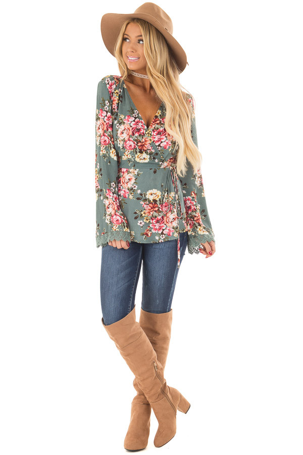 Dusty Blue Floral Print Wrap Style Top front full body