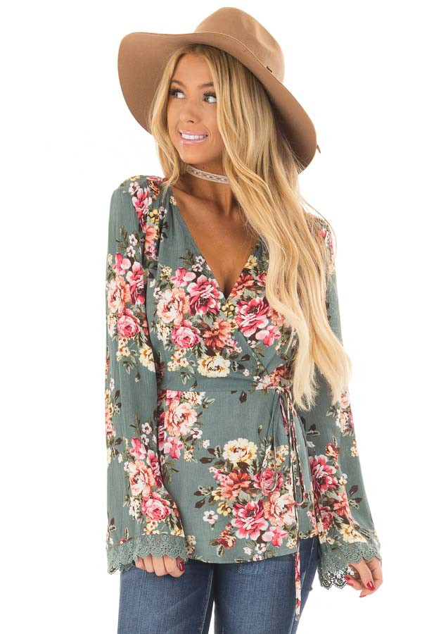 Dusty Blue Floral Print Wrap Style Top front close up