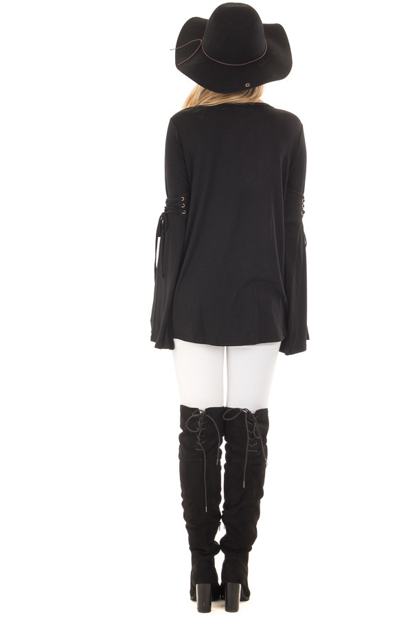 Black Long Bell Sleeve Top with Lace Up Detail back full body