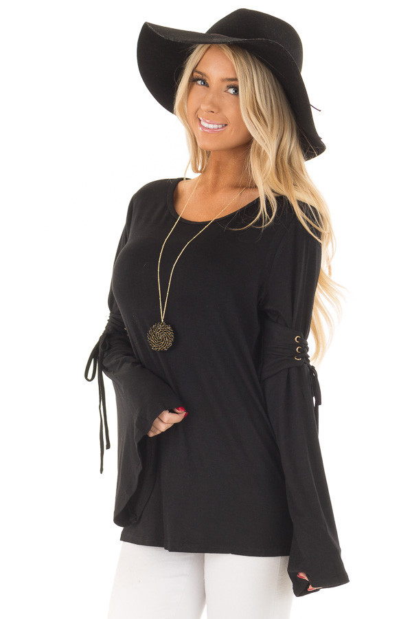 Black Long Bell Sleeve Top with Lace Up Detail front close up