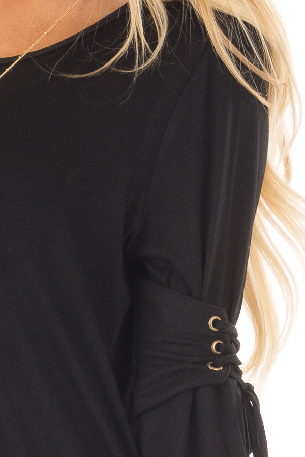 Black Long Bell Sleeve Top with Lace Up Detail detail