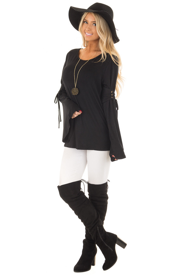 Black Long Bell Sleeve Top with Lace Up Detail front full body